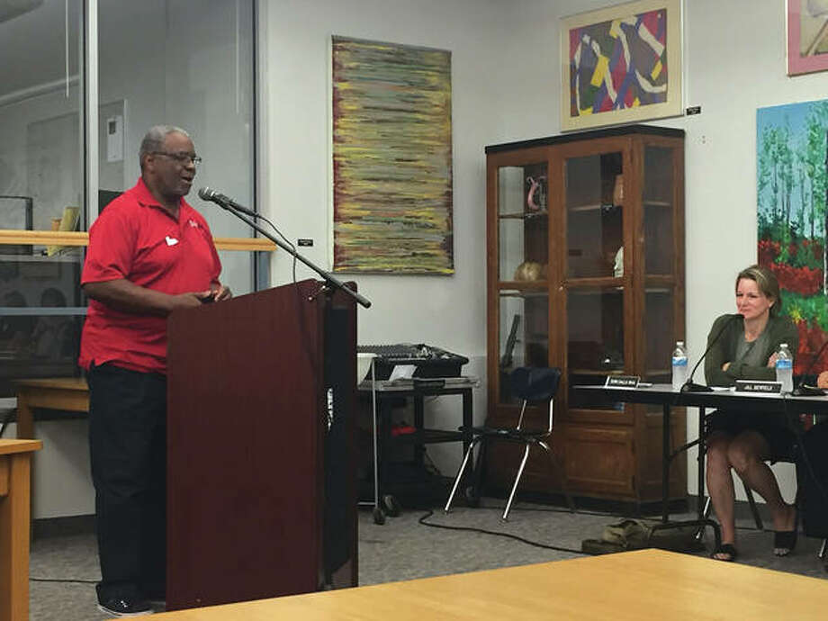 Edwardsville community leader John Cunnigham speaks at the forum. Photo: Julia Biggs/Intelligencer