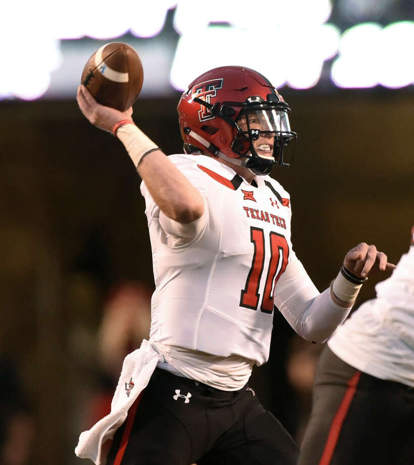 Texas Tech quarterback Alan Bowman throws a pass during the first half of an NCAA football game against Oklahoma State in Stillwater, Okla., Saturday, Sept. 22, 2018. (AP Photo/Brody Schmidt) Photo: Brody Schmidt,  Associated Press