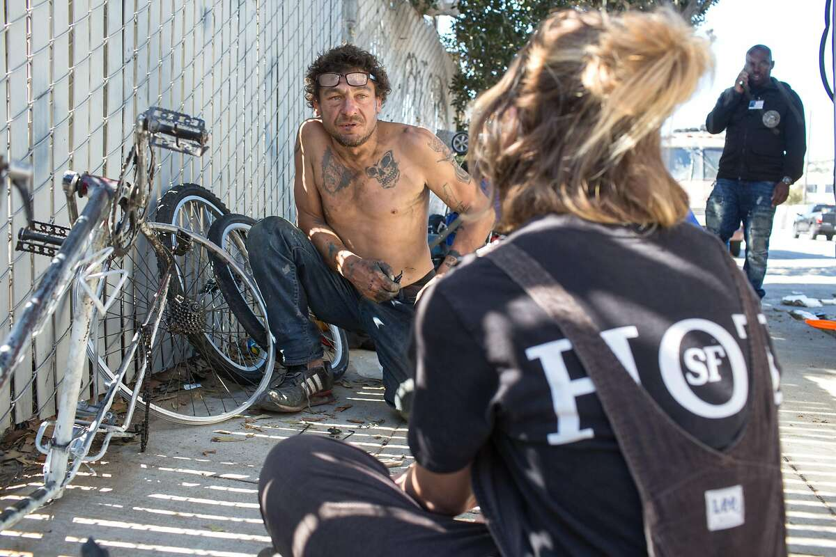 Peter Sarinelli, 50, has been living in an RV in San Francisco for the past 3 years. He is from New York, where he would like to return. He talks to Kiefer Cropper, outreach specialist from the Homeless Outreach Team in Bay View. Monday, September 24, 2018 in San Francisco Calif.