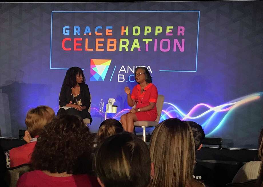 Anita Hill talks during a session on the #MeToo movement at the Grace Hopper Celebration, a conference for women in technology at the Marriott Marquis in downtown Houston on Friday, Sept. 28, 2018. Photo: Elizabeth Conley, Houston Chronicle / Houston Chronicle