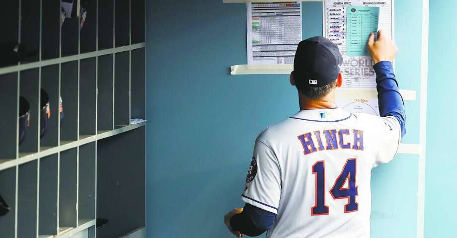 PHOTOS: Astros game-by-game Houston Astros manager A.J. Hinch (14) compares lineups before Game 6 of the World Series at Dodger Stadium on Tuesday, Oct. 31, 2017, in Los Angeles. ( Karen Warren  / Houston Chronicle ) Browse through the photos to see how the Astros have fared through each game this season. Photo: Karen Warren/Houston Chronicle