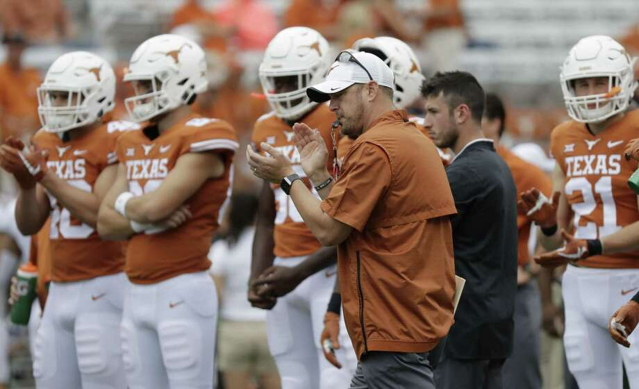 Texas head coach Tom Herman before an NCAA college football game against TCU, Saturday, Sept. 22, 2018, in Austin, Texas. (AP Photo/Eric Gay) Photo: Eric Gay, STF / Associated Press / Copyright 2018 The Associated Press. All rights reserved.