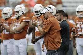 Texas head coach Tom Herman before an NCAA college football game against TCU, Saturday, Sept. 22, 2018, in Austin, Texas. (AP Photo/Eric Gay)