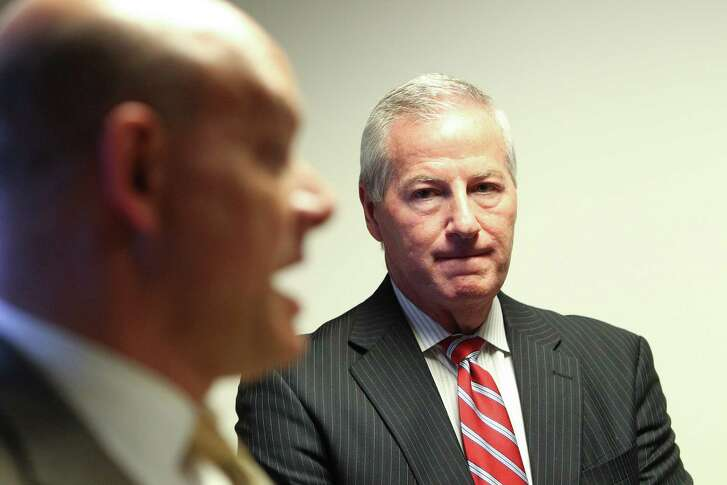 Cris Feldman (left) representing the Houston school district's former chief auditor Richard Patton, held a news conference Thursday, Sept. 1, 2016, in Houston, one day after Patton, lost his job.