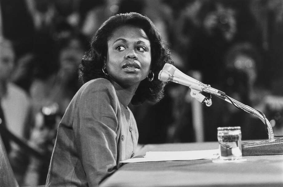 """Anita Hill testifies before Senate Judiciary Committee on Oct. 14, 1991. (Photo by Laura Patterson/CQ Roll Call via Getty Images)""""r""""n Photo: CQ Roll Call 1991"""