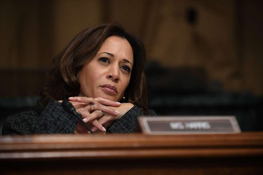 Sen. Kamala Harris, D-CA, listens to Christine Blasey Ford, the woman accusing Supreme Court nominee Brett Kavanaugh of sexually assaulting her at a party 36 years ago, testifying before the US Senate Judiciary Committee on Capitol Hill in Washington, DC, September 27, 2018. Photo: Saul Loeb / AFP / Getty Images