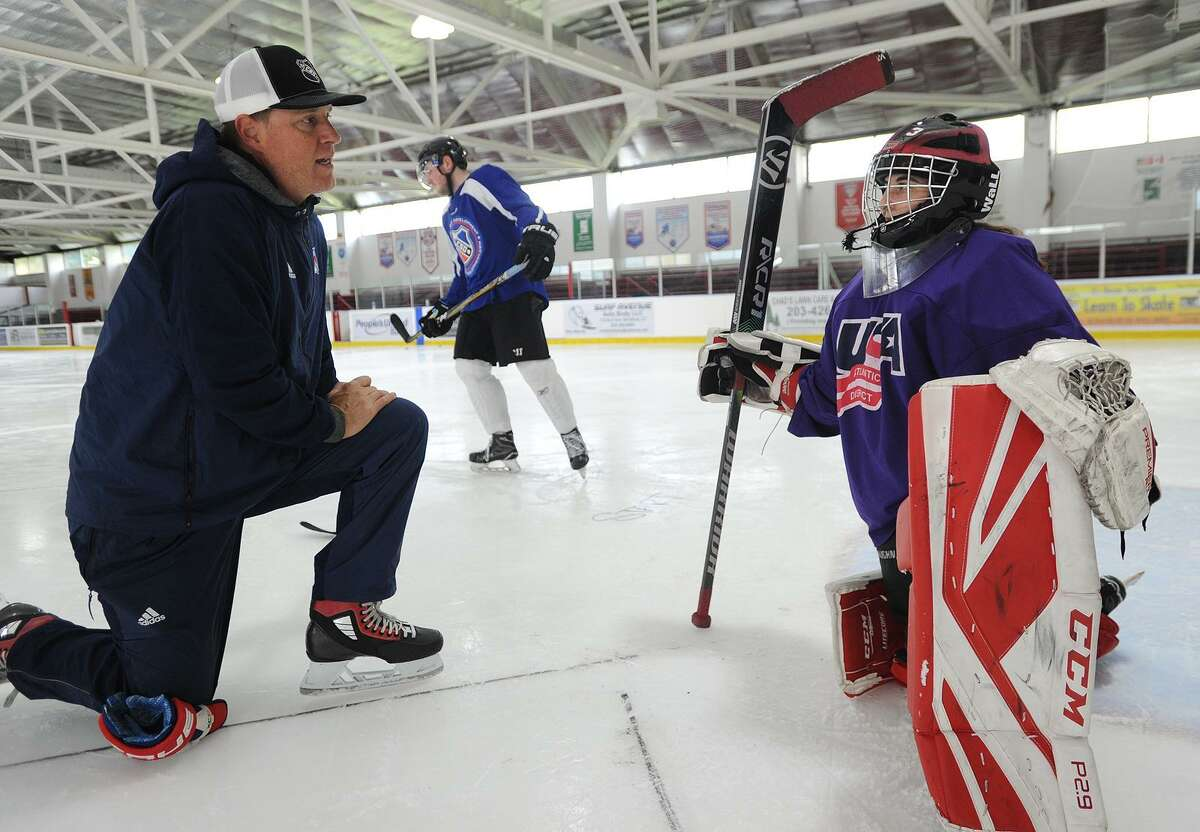 Former NHL and Bridgeport Sound Tiger goalie Steve Valiquette provides one on one coaching to Layla Shaffer, of New York, NY, at The Wonderland of Ice rinks in Bridgeport, Conn.on Thursday, September 27, 2018.