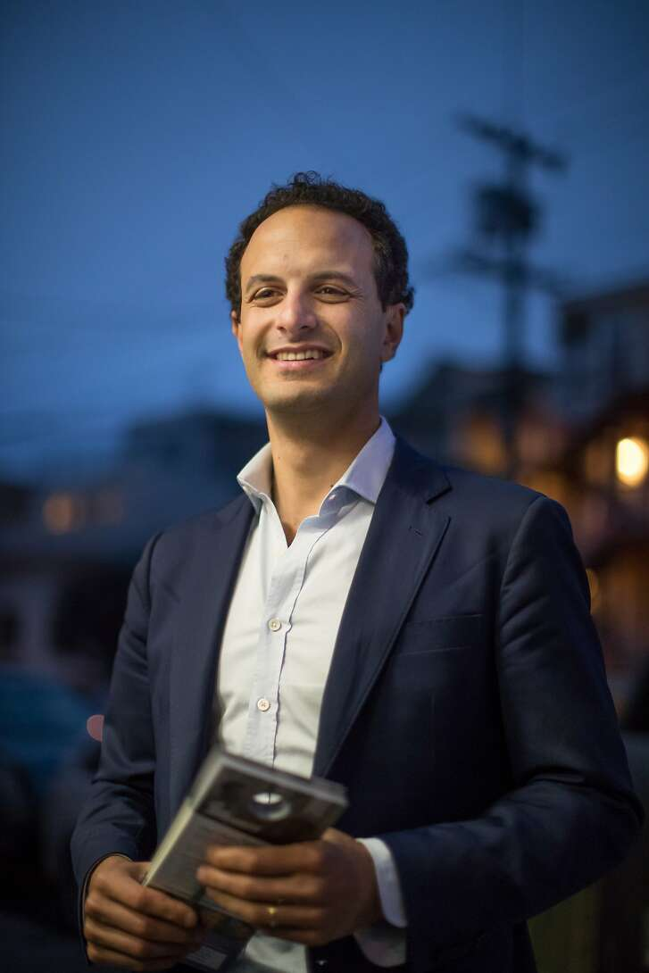 Nick Josefowitz, a candidate for District 2 Supervisor, canvasses registered voters in his district on Saturday, Sept. 22, 2018, in San Francisco, Calif.