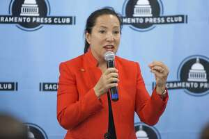 Democratic candidate for Lt. Governor Eleni Kounalakis speaks during a debate sponsored by the Sacramento Press Club in Sacramento, Calif., Tuesday, April 17, 2018. (AP Photo/Steve Yeater)