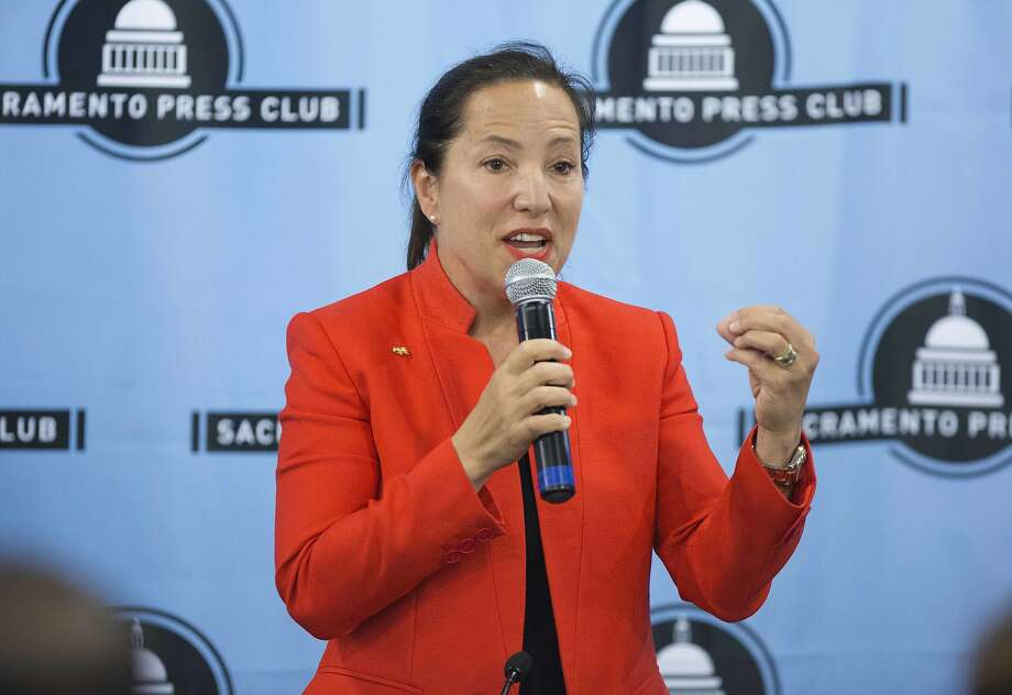 Democratic candidate for Lt. Governor Eleni Kounalakis speaks during a debate sponsored by the Sacramento Press Club in Sacramento, Calif., Tuesday, April 17, 2018. (AP Photo/Steve Yeater) Photo: Steve Yeater, AP