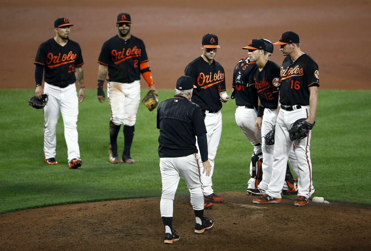Baltimore Orioles manager Buck Showalter, front center, relieves relief pitcher Tanner Scott in the eighth inning of a baseball game against the Houston Astros, Friday, Sept. 28, 2018, in Baltimore. (AP Photo/Patrick Semansky)