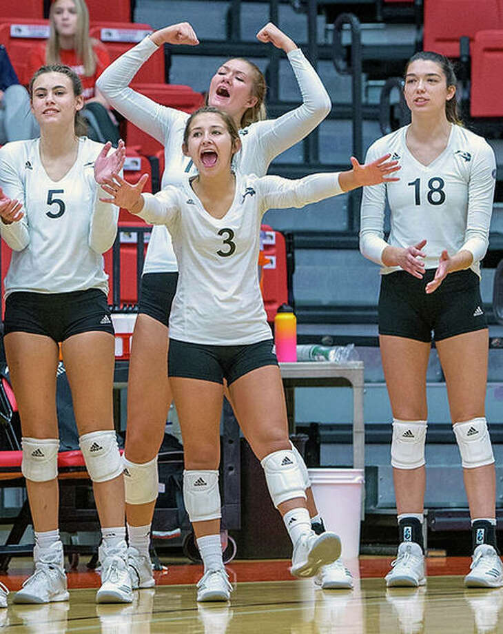 Members of the SIUE volleyball team celebrate during Friday's victory over Tennessee Martin at the Vadalabene Center. Photo: Scott Kane, SIUE | For The Telegraph