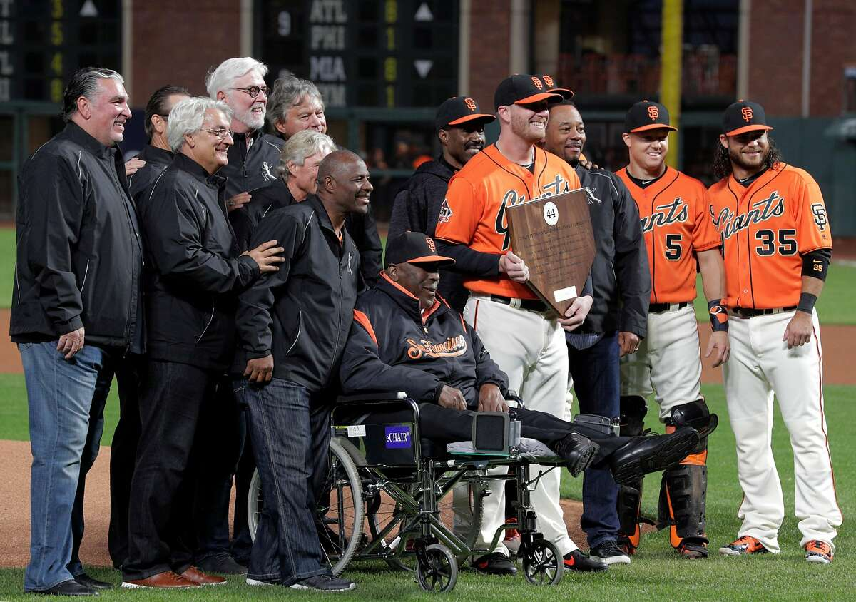 Will Smith poses with other winners after being named the 2018 Willie Mac Award winner before the San Francisco Giants played the Los Angeles Dodgers at AT&T Park in San Francisco, Calif., on Friday, September 28, 2018.