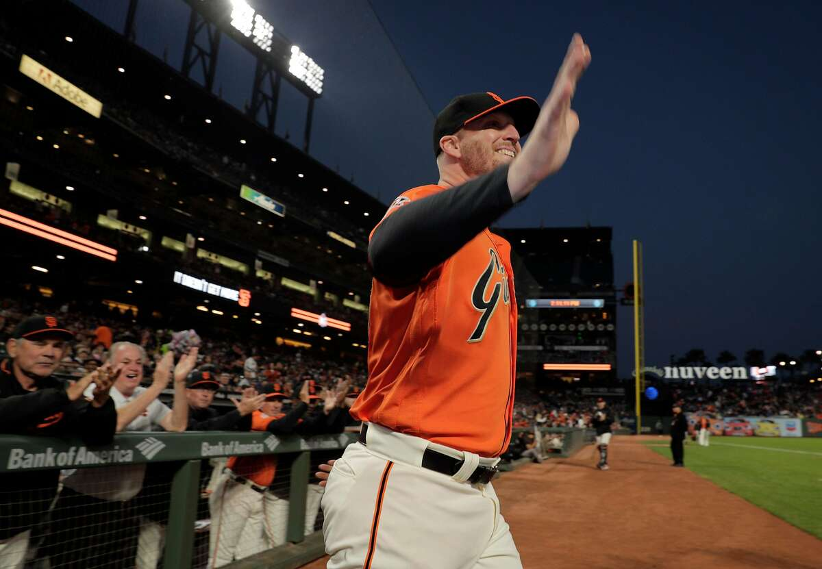 Will Smith emerges from the dugout after being named the 2018 Willie Mac Award winner before the San Francisco Giants played the Los Angeles Dodgers at AT&T Park in San Francisco, Calif., on Friday, September 28, 2018.
