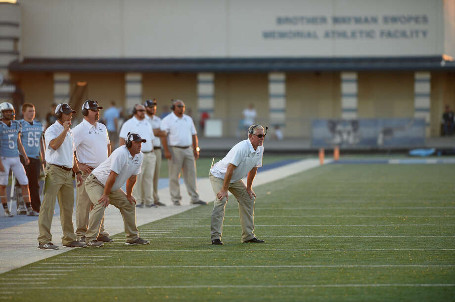 Greenwood coaching staff look on durign the game against Sweetwater Sept. 28, 2019, at J.M. King Memorial Stadium in Greenwood. James Durbin/Reporter-Telegram Photo: James Durbin / ? 2018 Midland Reporter-Telegram. All Rights Reserved.