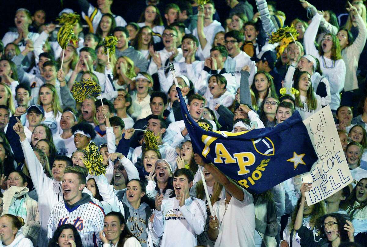 Averill Park fans cheer on their team during Friday night's game against Columbia High Sept. 28, 2018 in East Greenbush, NY. (John Carl D'Annibale/Times Union)