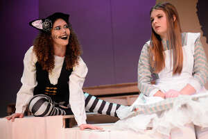 """The Cheshire Cat (Danielle Bryden) tries to explain the workings of Wonderland to Alice (Abigail Nichols) during a Sept. 27, 2018 rehearsal for the upcoming Pickwick Players production """"Alice In Wonderland"""", at MCT. James Durbin/Reporter-Telegram"""