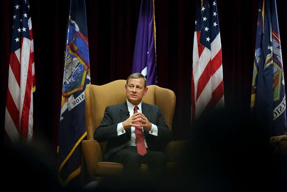 Chief Justice John Roberts will be the focus for lawyers making arguments this term. He likely will be the justice closest to the political center of the court. Photo: Richard Perry / New York Times 2015