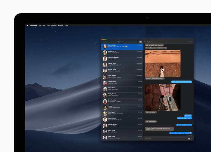 The Messages app on macOS 10.14 Mojave in dark mode.