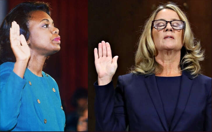 Collage photo where U.S. law professor   Anita Hill, left, takes the oath before the Senate Judiciary Committee in Washington DC on October 12, 1991 (Photo: Jennifer Law/AFP/Getty Images). To the right, Christine Blasey Ford is also sworn in to testify before the Senate Judiciary Committee on Capitol Hill on Thursday, September 27,   2018 in Washington, D.C. (Photo: Win McNamee/Pool/Abaca Press/TNS).