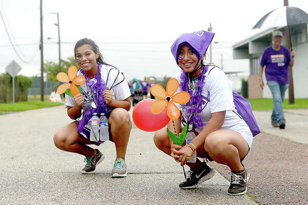 Participants set off on their 5k trek during the annual Walk to End Alzheimer's in downtown Beaumont Saturday. Saturday, September 29, 2018 Kim Brent/The Enterprise