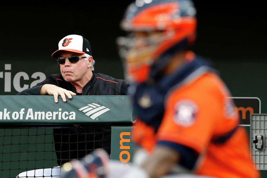 fe15cc82b6a Baltimore Orioles manager Buck Showalter watches from the dugout rail  during the second inning of the