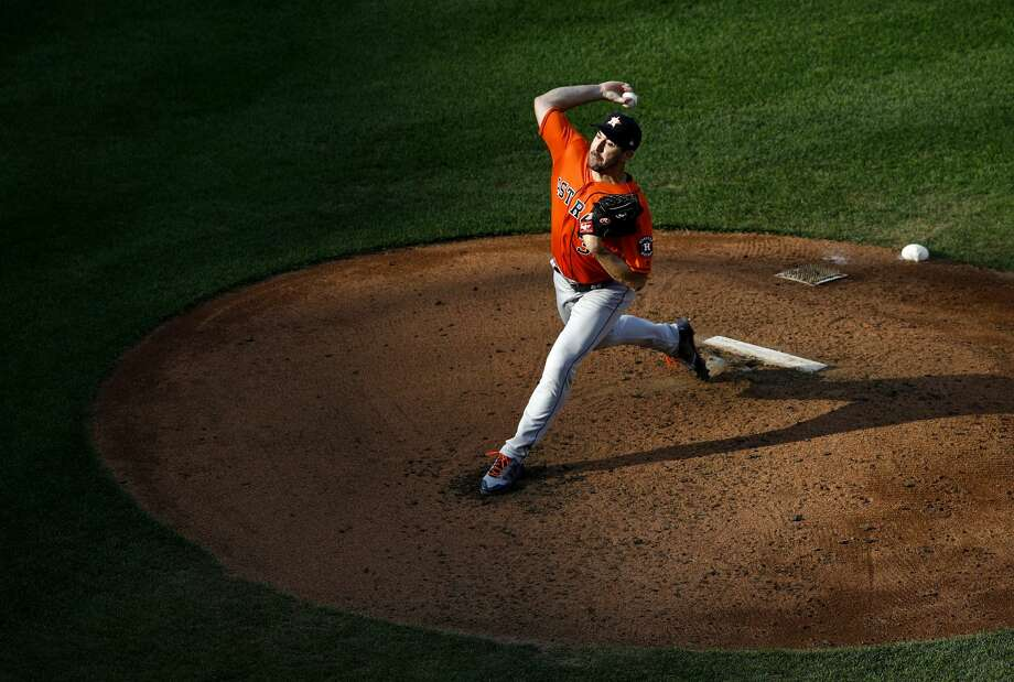 Houston Astros starting pitcher Justin Verlander throws to the Baltimore Orioles in the first baseball game of a doubleheader, Saturday, Sept. 29, 2018, in Baltimore. (AP Photo/Patrick Semansky) Photo: Patrick Semansky/Associated Press