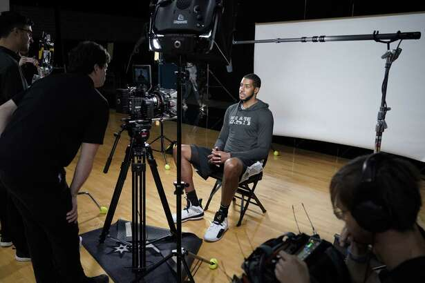 San Antonio Spurs forward LaMarcus Aldridge speaks during a video interview on team media day, Monday, Sept. 24, 2018, at the Spurs practice facility in San Antonio. (AP Photo/Darren Abate)