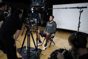 San Antonio Spurs forward LaMarcus Aldridge speaks during a video interview on team media day, Monday, Sept. 24, 2018, at the Spurs practice facility in San Antonio. (AP Photo/Darren Abate)