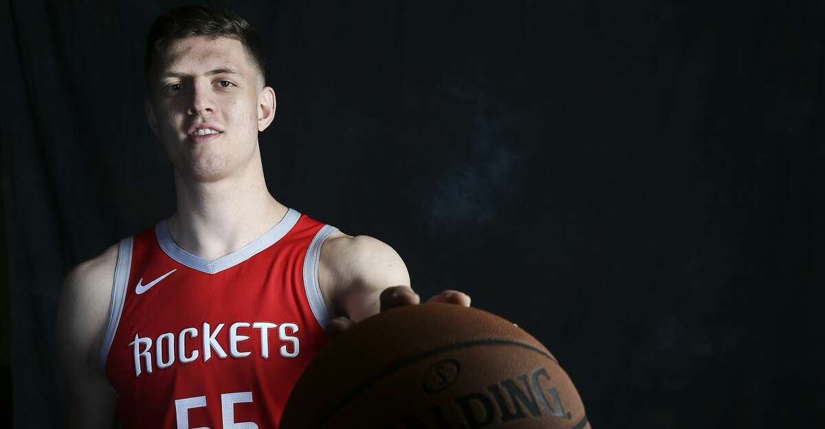 Houston Rockets rookie forward/center Isaiah Hartenstein (55) poses for photos during Rockets Media day on Monday, Sept. 24, 2018 in Houston.