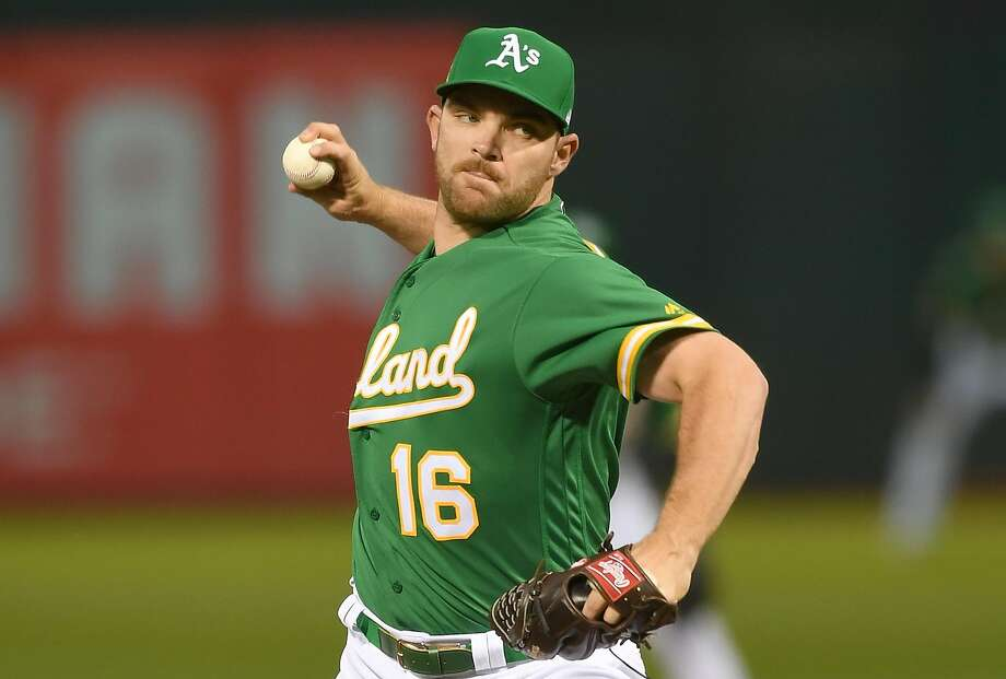 OAKLAND, CA - SEPTEMBER 21:  Liam Hendriks #16 of the Oakland Athletics pitches against the Minnesota Twins in the top of the first inning at Oakland Alameda Coliseum on September 21, 2018 in Oakland, California.  (Photo by Thearon W. Henderson/Getty Images) Photo: Thearon W. Henderson / Getty Images