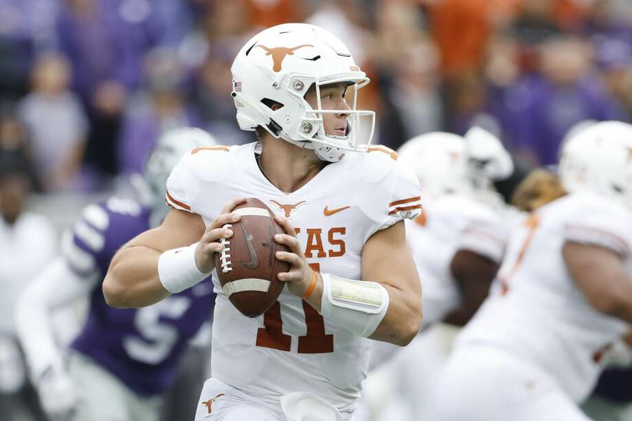 Texas quarterback Sam Ehlinger (11) looks downfield during the first quarter of a college football game against Kansas State in Manhattan, Kan., Saturday, Sept. 29, 2018. (AP Photo/Colin E. Braley) Photo: Colin E. Braley/Associated Press