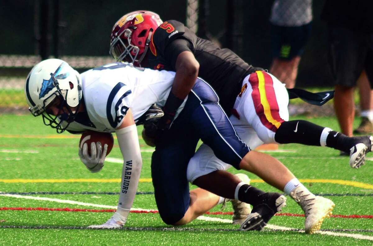 High school football action between St. Joseph's and Wilton in Trumbull, Conn., on Saturday Sept. 29, 2018.