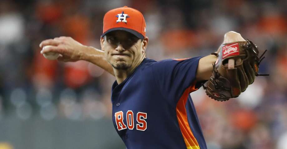 Houston Astros starting pitcher Charlie Morton (50) pitching during the first inning of an MLB baseball game at Minute Maid Park, Sunday, September 23, 2018, in Houston. Photo: Karen Warren/Staff Photographer