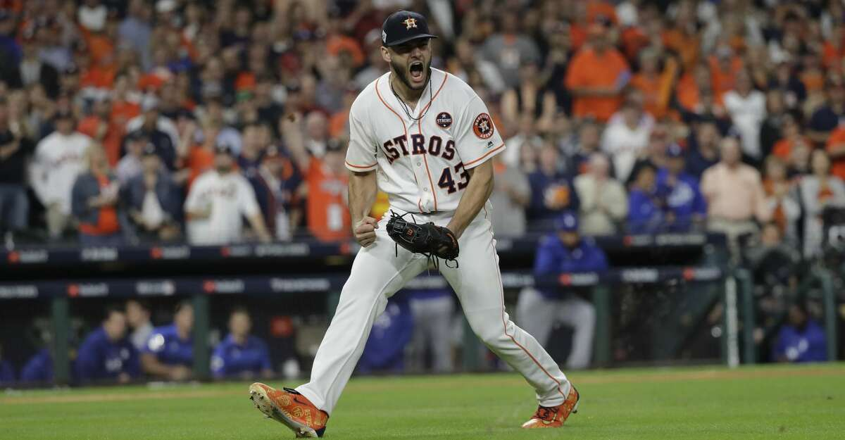 FILE - In this Oct. 27, 2017, file photo, Houston Astros starting pitcher Lance McCullers Jr. reacts after getting Los Angeles Dodgers' Justin Turner to ground out during the third inning of Game 3 of baseball's World Series, in Houston. McCullers Jr. has offered advice and a free playoff ticket to an 8-year-old special needs girl who apparently was yelled at by another fan for loudly cheering at an Astros game. McCullers on Wednesday, Sept. 26, 2018, tweeted