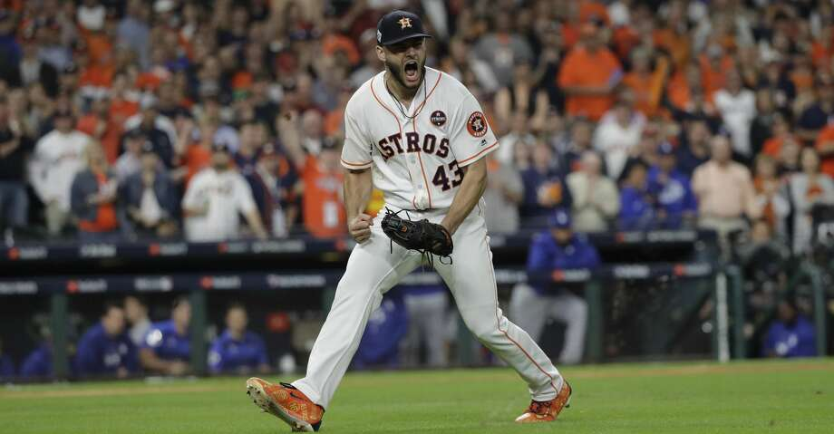 "FILE - In this Oct. 27, 2017, file photo, Houston Astros starting pitcher Lance McCullers Jr. reacts after getting Los Angeles Dodgers' Justin Turner to ground out during the third inning of Game 3 of baseball's World Series, in Houston.  McCullers Jr. has offered advice and a free playoff ticket to an 8-year-old special needs girl who apparently was yelled at by another fan for loudly cheering at an Astros game. McCullers on Wednesday, Sept. 26, 2018, tweeted ""Chloe, don't you EVER stop cheering"" and offered her a ticket for an Oct. 5 playoff game. (AP Photo/David J. Phillip, File) Photo: David J. Phillip/Associated Press"