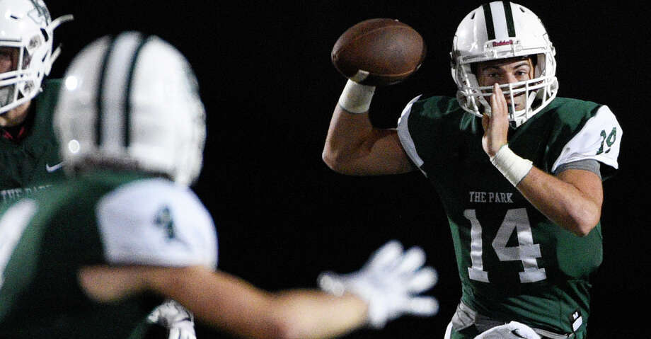 Kingwood Park quarterback Sam Johansen (14) throws a pass to wide receiver Canen Adrian during the second half of a high school football game against Porter, Saturday, Sept. 29, 2018, in Humble, TX. (Eric Christian Smith/Contributor) Photo: Eric Christian Smith/Contributor