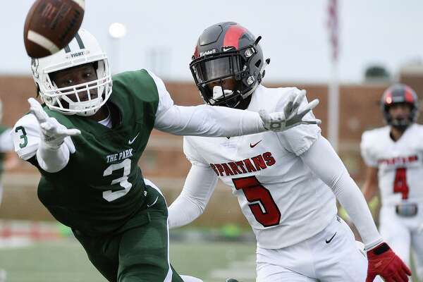 Kingwood Park wide receiver Dylan Johnson (3) can't catch the pass as Porter defensive back Kaleb Bailey defends during the first half of a high school football game, Saturday, Sept. 29, 2018, in Humble, TX. (Eric Christian Smith/Contributor)