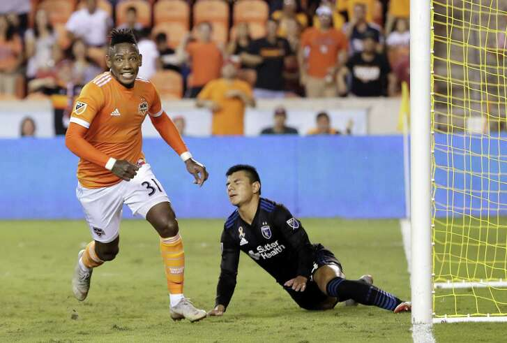 Houston Dynamo forward Romell Quioto (31) celebrates scoring the winning goal past San Jose Earthquakes defender Nick Lima (24) during the 87th minute of their MLS game at BBVA Compass Stadium Saturday, Sep. 29, 2018 in Houston, TX.