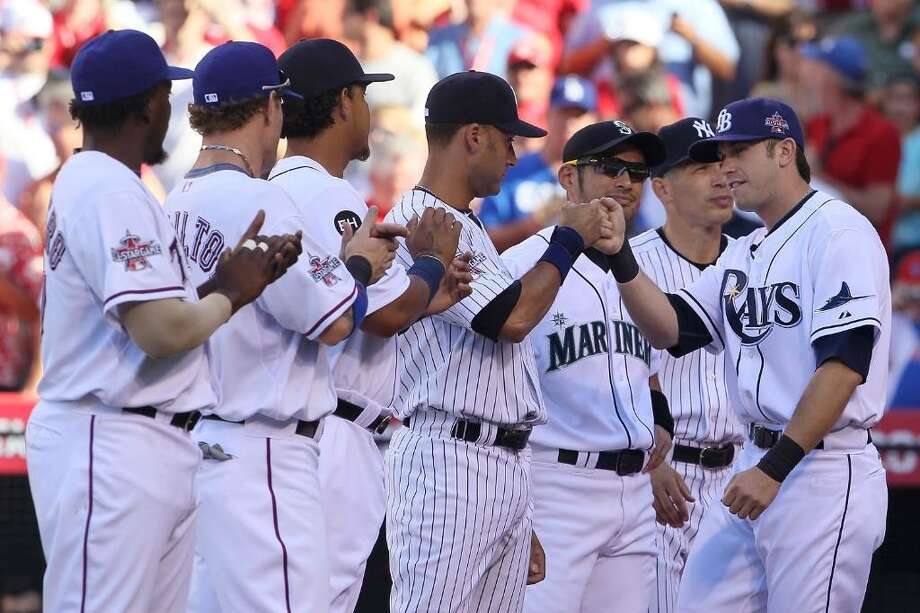 ANAHEIM, CA - JULY 13:  American League All-Star Evan Longoria #3 of the Tampa Bay Rays greets his teammates on American League All-Star prior to the 81st MLB All-Star Game at Angel Stadium of Anaheim on July 13, 2010 in Anaheim, California.  (Photo by Jeff Gross/Getty Images) *** Local Caption *** Evan Longoria Photo: Jeff Gross, Getty Images / 2010 Getty Images