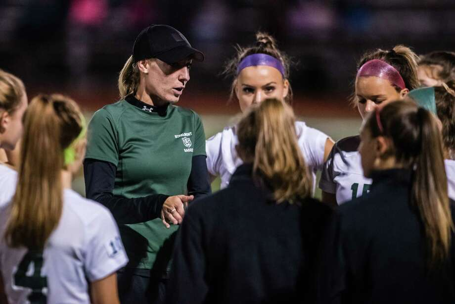 Schalmont coach Alaina Lange speaks to her team as the Mohonasen and Schalmont girls soccer teams faced off at Mohonasen Saturday, September 29th, 2018. Photo by Eric Jenks Photo: Eric Jenks / Eric Jenks 2018
