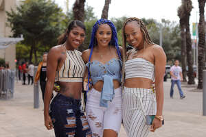 Fans arrive for the Drake and Migos concert Saturday night, Sept. 29, 2018 at Houston's Toyota Center.
