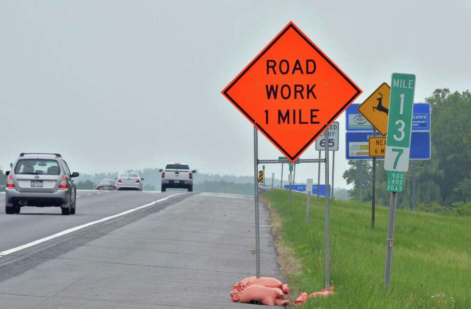 File photo of a road work sign. (John Carl D'Annibale / Times Union) Photo: John Carl D'Annibale / Albany Times Union / ONLINE_YES
