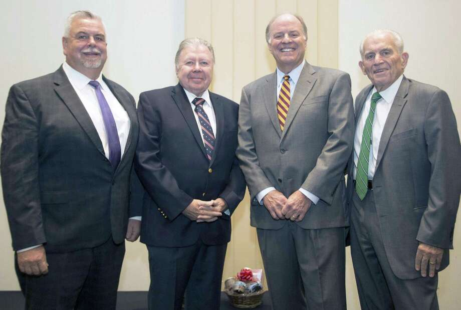 Henry J. Maier, president and CEO of FedEx Ground, was guest speaker at the Middlesex County Chamber of Commerce member breakfast Sept. 21. From left are Chamber Vice Chairman Don DeVivo, Chairman Jay Polke, Maier, and President Larry McHugh. Photo: Contributed Photo / (c)DE KINE PHOTO LLC