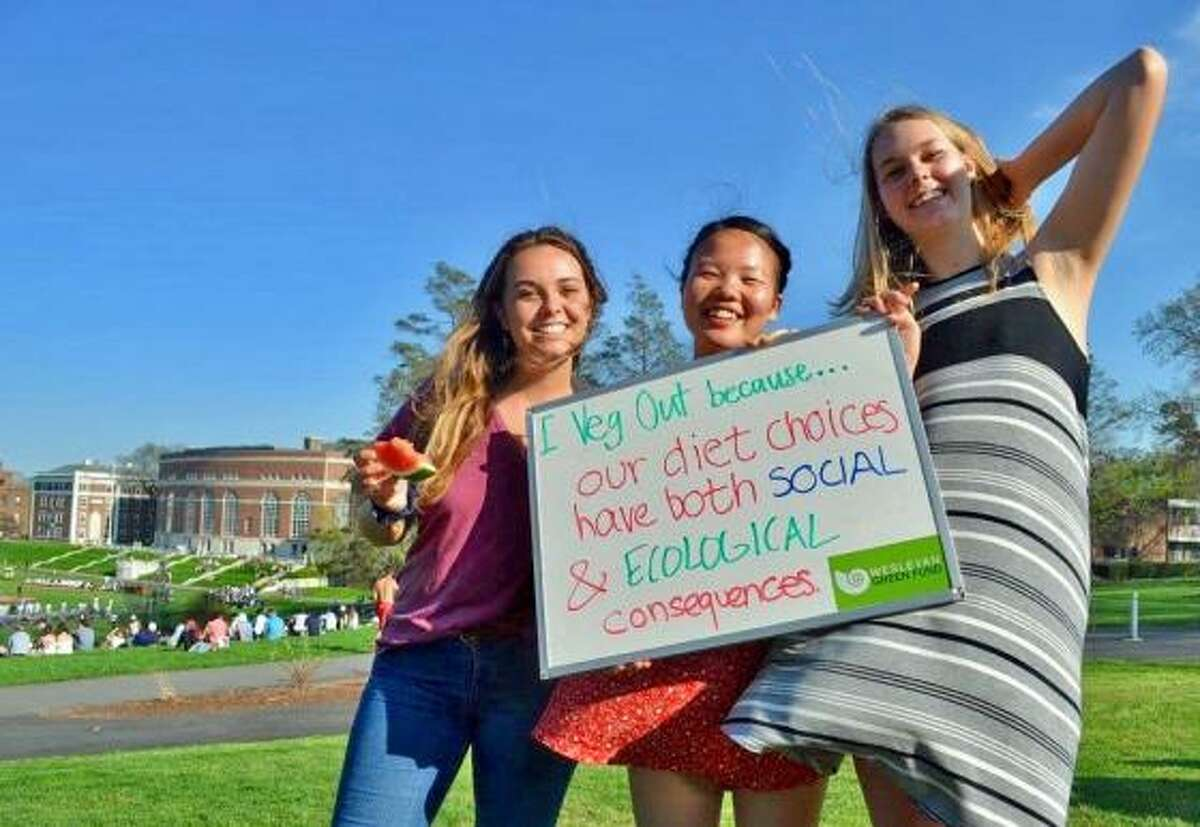 Wesleyan University students Ingrid Eck, Kelly Lam and Kate Sundberg enjoy last year's Veg Out Cookout on Foss Hill in Middletown.
