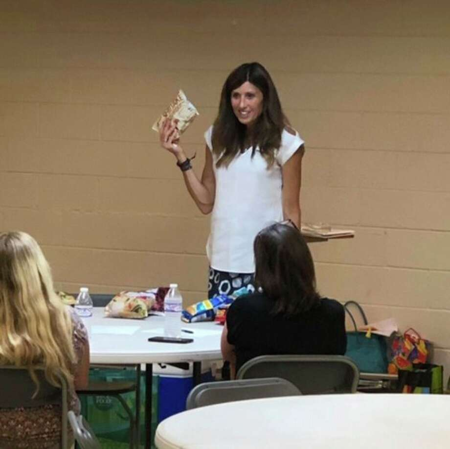 Lori Prince-Brown talks about easy pantry and freezer meals at a Midland Plant Based Nutrition Support Group meeting. (Photo provided)