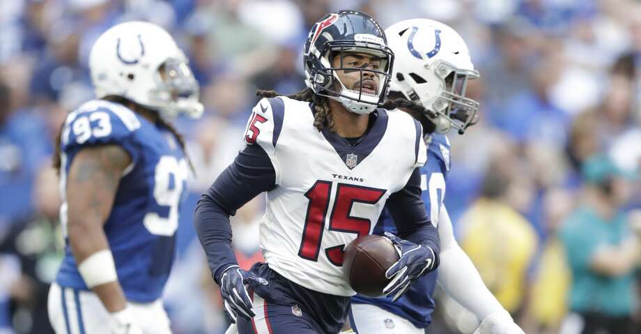 PHOTOS: Texans vs. Colts Houston Texans' Will Fuller runs of the field after scoring a touchdown during the first half of an NFL football game against the Indianapolis Colts, Sunday, Sept. 30, 2018, in Indianapolis. (AP Photo/Michael Conroy) Browse through the photos to see action from the Texans' game against the Colts. Photo: Michael Conroy/Associated Press