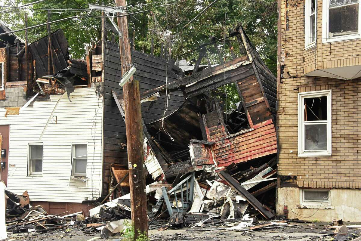 Scene from a multi-home fire on Sheridan Ave. on Sunday, Sept. 30, 2018 in Albany, N.Y. (Lori Van Buren/Times Union)