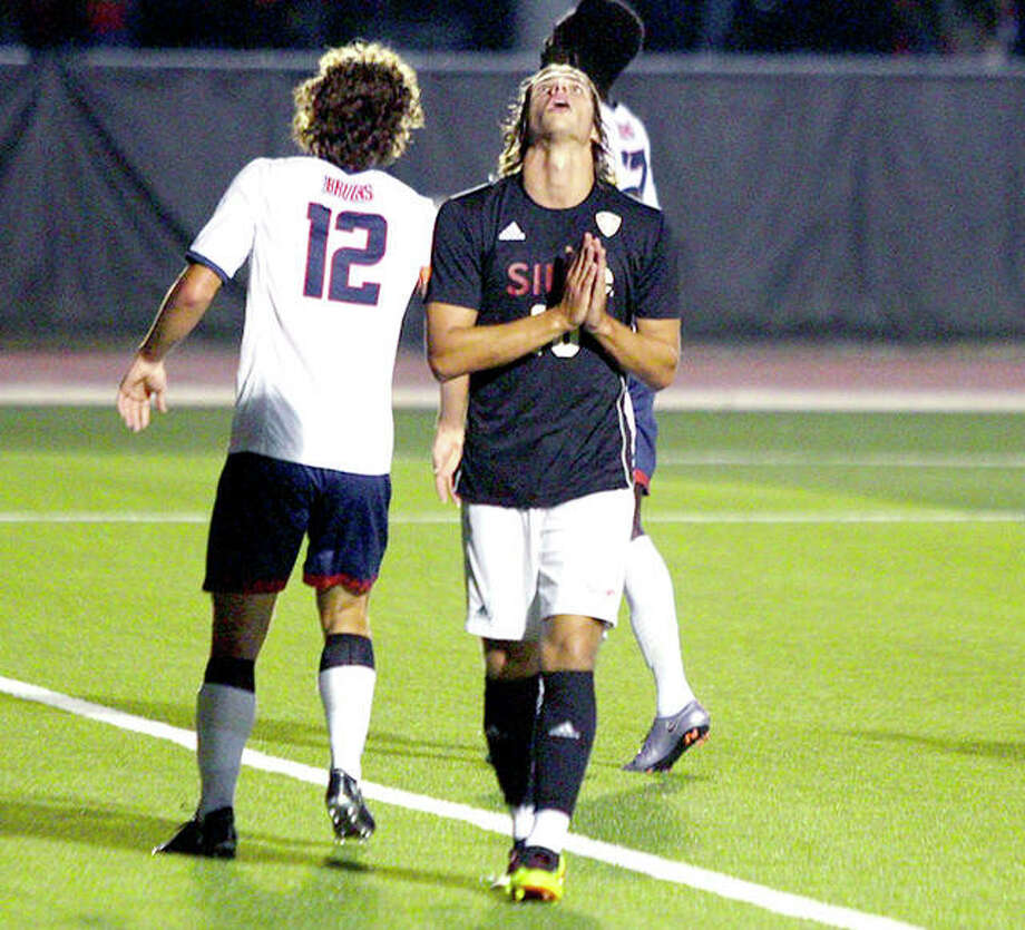 SIUE's Jorge Gonzalez looks skyward as he folds his hands during Saturday night's 2-0 OVC victory over Belmont at Korte Stadium. Photo: SIUE Athletics