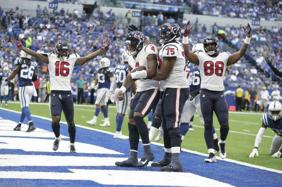 Deshaun Watson (4) celebrates a touchdown against the Indianapolis Colts, Sunday, Sept. 30, 2018. Photo: Michael Conroy, STF / Associated Press / Copyright 2018 The Associated Press. All rights reserved